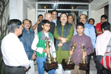 Hon'ble Sports Minister Mr. Madan Mitra with Champion,Runner-up of the Telegraph Meet